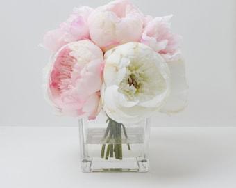 Peony Arrangement, Silk Peonies, Flower Arrangement, Silk Flower Arrangement, Vase of Peonies, Flowers, Silk Flowers, Pink Peony Arrangement