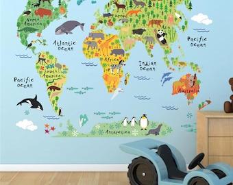 World Map Wall Decal, World Map Decal, World Map Sticker, Wall Stickers, Wall Decal, Map Wall Decal, Kids World Map, Animal World Map, Wall