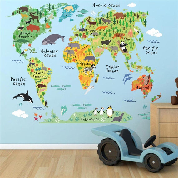 World map wall decal world map decal world map sticker wall gumiabroncs Gallery