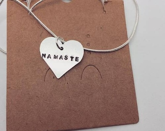 Namaste Heart Necklace-Gift- Ethical- Vegan- Eco friendly- Recycled- plant based- jewellery- vegan jewelry-personalised