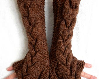 Fingerless Gloves Hand Knitted Brown Cabled Arm Warmers, Extra Chunky and Warm
