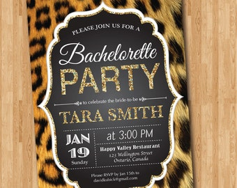 Leopard Print Bachelorette Party Invitation. Gold Glitter. Cheetah Animal Print. Hens Party. Bridal Shower. Printable digital DIY.