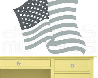 Wall decal USA FLAG Patriotic surface graphics interior decor by Decals Murals (33x37)