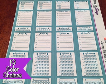 Health and Fitness Sidebar Stickers (4) for 2017-18 Erin Condren Vertical Life Planner Spiral