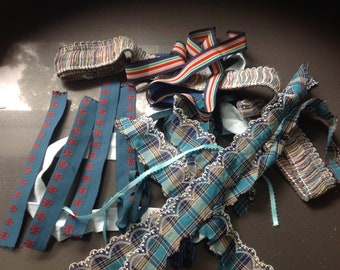 Ribbon and fabric scraps grab bag - blue, teal