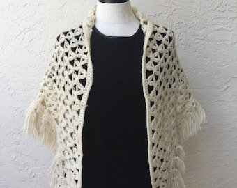 Crochet lace triangle ivory shawl scarf wrap ivory shawl oversized triangle scarf ivory blanket scarf gift for her ready to ship