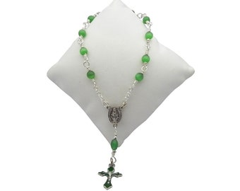 One Decade Emerald Green & Silver Miraculous Rosary, Catholic Rosary Beads, May Birthstone Rosary, Pocket Rosary, Tenner Rosary