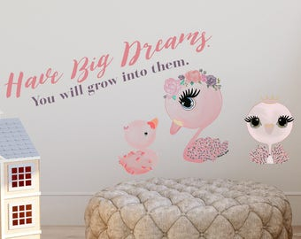Swan reusable Wall Sticker, Swan Reusable Wall Decal, Girls Swan Wall Art Stickers for Nursery and Girls Room, Swan theme room decor