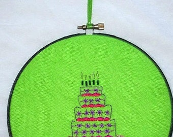 Embroidered decoration, cake, party, Birthday, 6 inches 15 cm, ec12