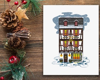 Christmas Village Instant Download, Printable Wall Art, Digital Download, Winter Wonderland, Snow House Scene, Christmas Decoration