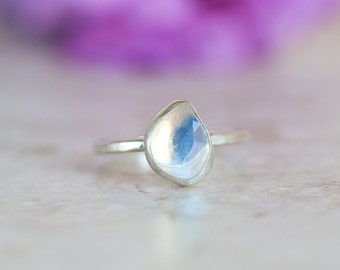 Rainbow Moonstone Ring, Rose Cut Rainbow Moonstone Ring, Moonstone Ring