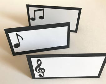 12 Tent Place Cards with Music Notes | Music Note Place Cards | Food Tents