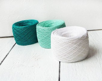 Natural linen thread Crochet thread Mint green, emerald green and snow white colors Set of 3 balls