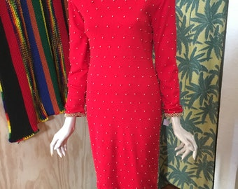 70's Et Al semi backless beaded sweater dress
