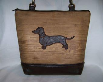 Dachshund Purse/ Brown Smooth Haired Dachshund on Wood Look Vinyl - Purse - Handbag - Bag Made to Order