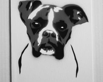 "Boxer Portrait Spray Painting, 8""x10"" Canvas Panel"