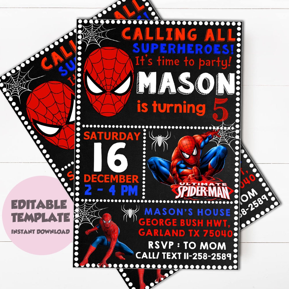 Instant download spiderman invitationspiderman zoom filmwisefo Choice Image