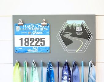 Running Medal Bib Holder Run Take the Road Less Traveled - Medal Holder, Medal Rack, Medal Display, Race Bib Display, Race Bib Holder
