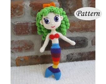 RAINBOW MERMAID - Amigurumi Pattern Crochet Doll Pattern Amigurumi Princess Pattern - Tutorial - PDF - Plush Doll Girl