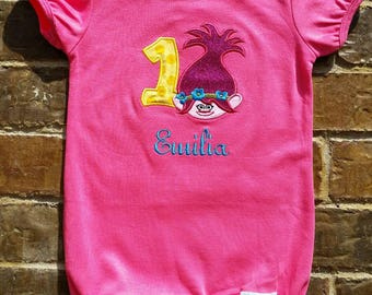 Little Girls Hot Pink Ruffled Romper with Appliquéd Poppy Troll, Embroidered Name and Birthday Number