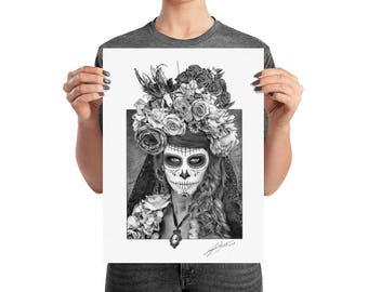 Sugar Skull - Día de Muertos - Day of the Dead - Wall Art, Poster, Print, Drawing