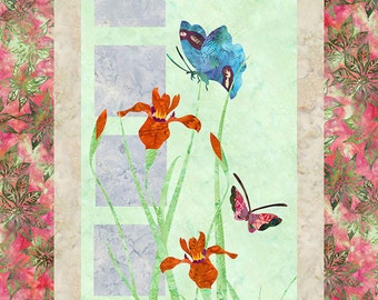 Iris & Butterflies - Fusible Applique Art Quilt Pattern - INSTANT DOWNLOAD PDF