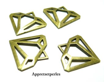 Jewellery Accessories: 10 diamonds 2 B 8936 Bronze pendants