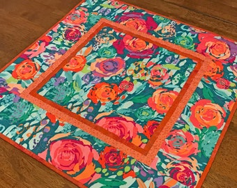 Quilted Teal and Orange Floral Table Topper, Colorful Spring Summer Table Topper, Painted Garden Table Topper, Turquoise Floral Table Topper
