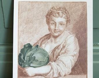 postcard girl with cauliflower, painting, gardening