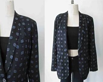 Vintage 1990's LIZ CLAIBORNE blazer geometric print oversized style - S/M
