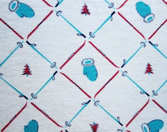 Winter Novelty Print Fabric - 2.5 Yards x 24 Inches Wide - 1950s Ski Theme Cotton Flannel - Skiing Poles Skis Mittens & Pine Trees - 47556