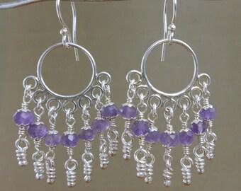 Violet Amethyst Sterling Silver Earrings. Chandelier Purple Stones Knots Cascade. Handmade Aroluna
