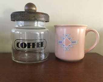 Vintage Glass Coffee Canister with Wooden Lid