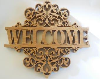quarter sawn oak welcome sign
