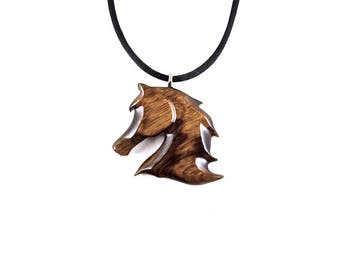 Horse Necklace, Wooden Horse Pendant, Horse Jewelry, Carved Horse Head Pendant, Spirit Animal Pendant, Horse Totem, Equestrian Jewelry