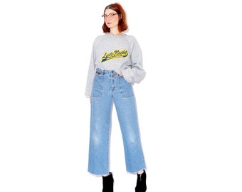 WIDE LEG JEANS 90s clothing 90s jeans light wash wide leg fit y2k girls womens jeans mom jeans high waisted jeans cropped jeans raw hem