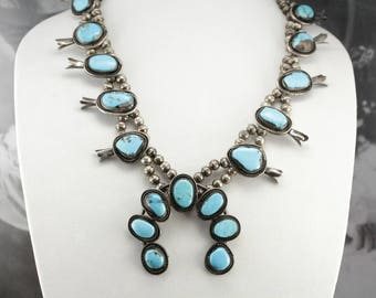 Navajo Turquoise Squash Blossom Necklace, Vintage Native American Silver 8XT90F-D