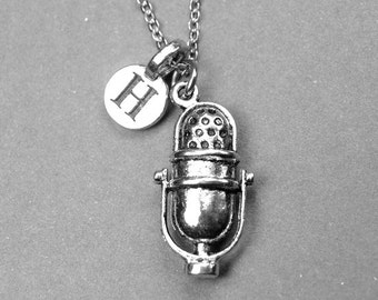 Microphone Necklace, Old fashioned Microphone, Retro microphone, mic necklace, personalized jewelry, initial necklace, monogram letter