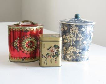 Vintage biscuit or tea tins / English Asian Floral tins / floral metal canisters / chinoiserie home decor