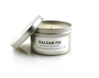 Balsam Fir Soy Candle - 8 oz Scented Handmade Natural Soy Wax Vegan Candle - Eco-Friendly Recyclable Tin