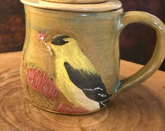 3 piece Goldfinch handmade pottery mug with tea strainer and lid