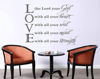 "Vinyl Wall Decal | ""Love the Lord your God with all your heart..."" 