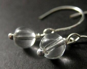 Clear Glass Bauble Earrings in Silver. Handmade Jewelry by Gilliauna
