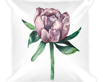 Pink Peony Square Pillow