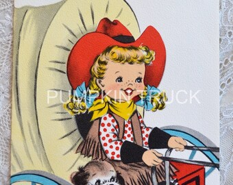 Vintage Birthday Card - Little Cowgirl and Puppy Driving Covered Wagon - Used