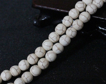 natural stone, howlite, 8mm 10 beads