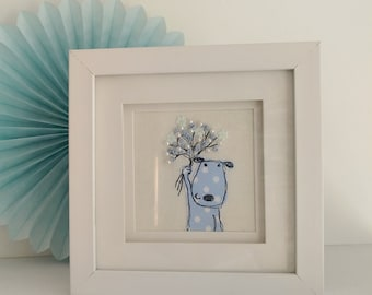 Spotty Dog Freehand Machine Embroidery picture dog and bouquet thank you friends baby shower childs room birthday gift textile art