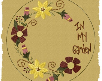 MACHINE EMBROIDERY-In My Garden Candle Mat--5 INCH-Fill Stitch-Instant Download