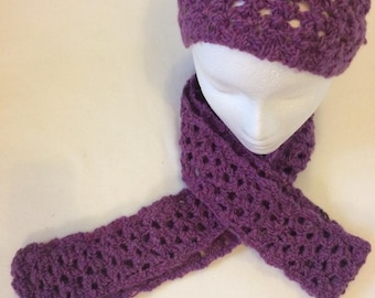 Lacy Hat and scarf  carefully designed and knitted to complement the many color variations
