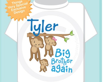 Big Brother Again Shirt or Onesie, Monkey Shirt Big Brother Monkey Personalized Big Brother with Two Little Sibling Monkeys 12052013a